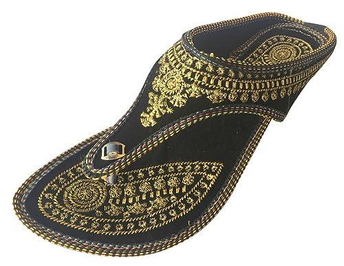 Sandalias Jaipuri, sandalias planas Khussa, sandalias hindúes Punjabi Jutti de Step n Style , color negro, talla 39