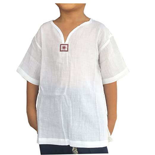 634b85a8 Amazon.com: PJ White Yoga Shirt For Kid Short Sleeves V Neck - Casual Hippie  Renaissance: Clothing