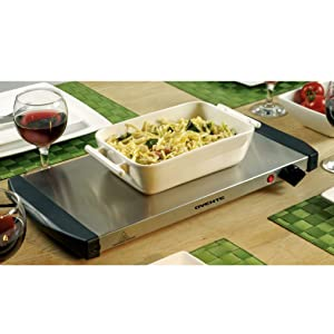 Ovente Electric Warming Tray, 17.0 × 9.6 Inches, 200W, Ultra-Thin, Adjustable Warming Dial, Cool-Touch Handles, LED indicator Light, Silver (FW170S)