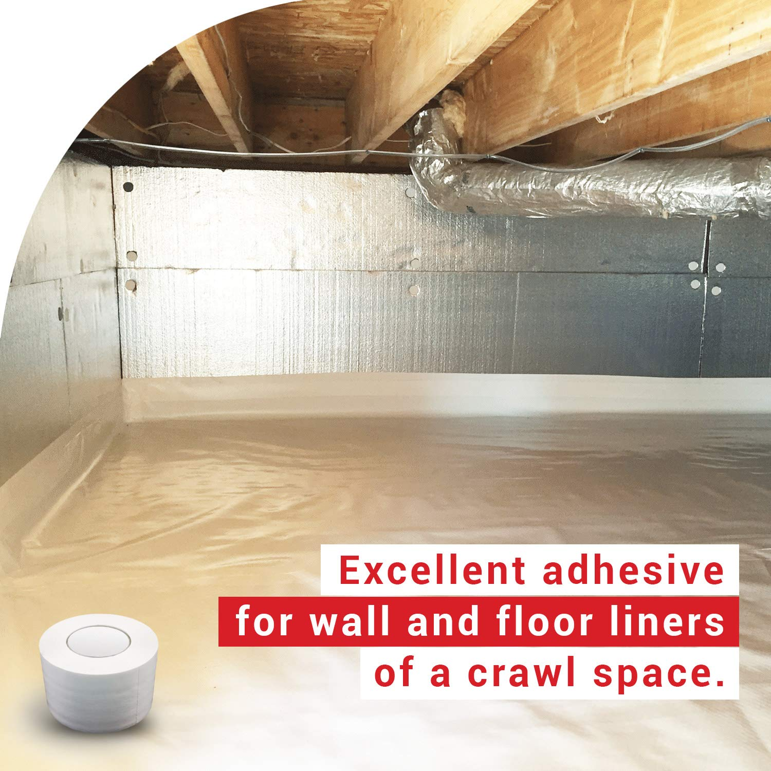 Red Encapsulations Carpet Padding and More Wall and Floor Liner for Crawl Space Moisture Barriers Vapor Barrier Seam Tape 4 x 180