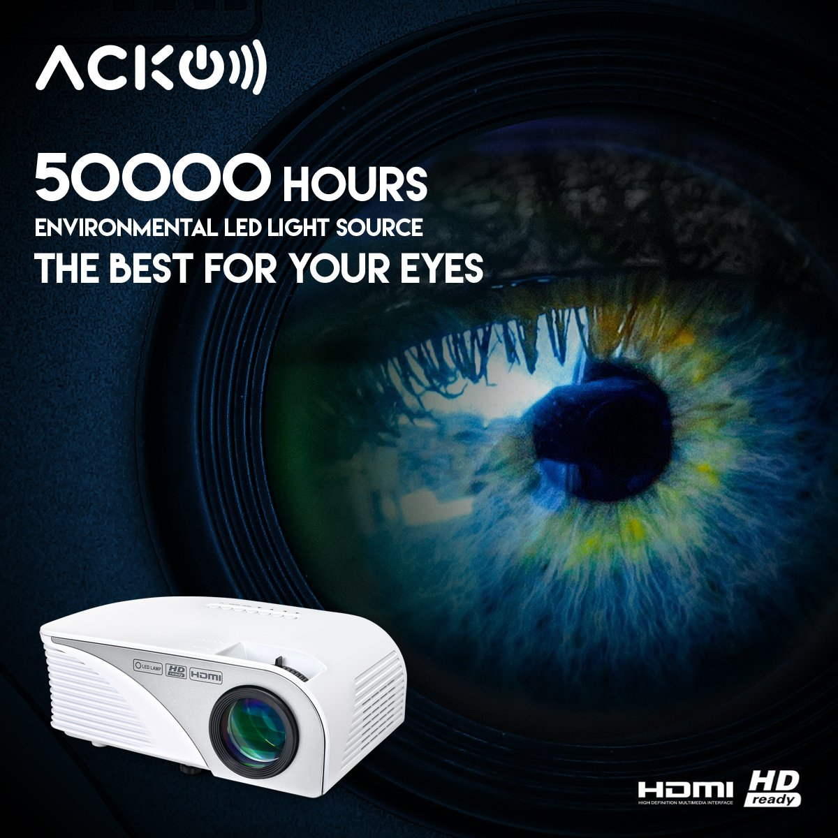 Acko Portable Mini HD LED Video Projector Office Home Theater 1200 LM Multimedia Outdoor 20''-150'' HDMI VGA USB AV SD Audio 1080P Smart Phone Tablet PC Computers Laptops White Warranty Included by EpandaHouse (Image #6)