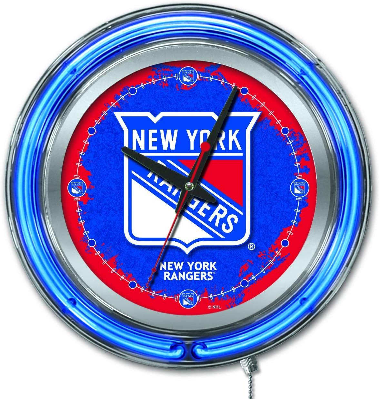 Holland Bar Stool Co 19 New York Rangers HBS Neon Blue Hockey Battery Powered Wall Clock