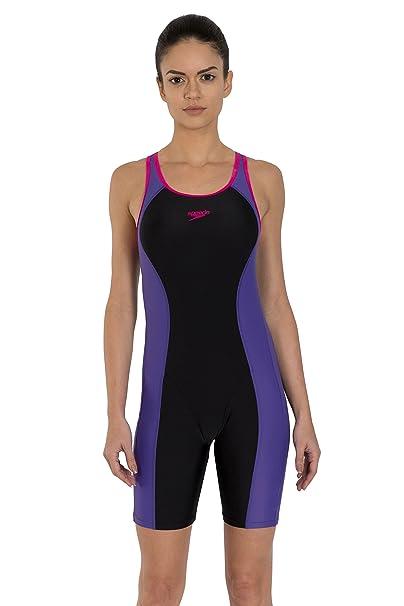 e4b0220f23 Speedo Female Swimwear Essential Splice Racerback Legsuit  (8FS392B527 Black Tapestry Electric Pink 32)