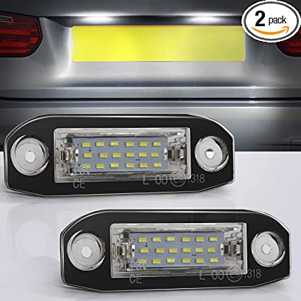 2X Spuer White LED Error Free Number License Plate Light For Volvo S80 Xc90 S40
