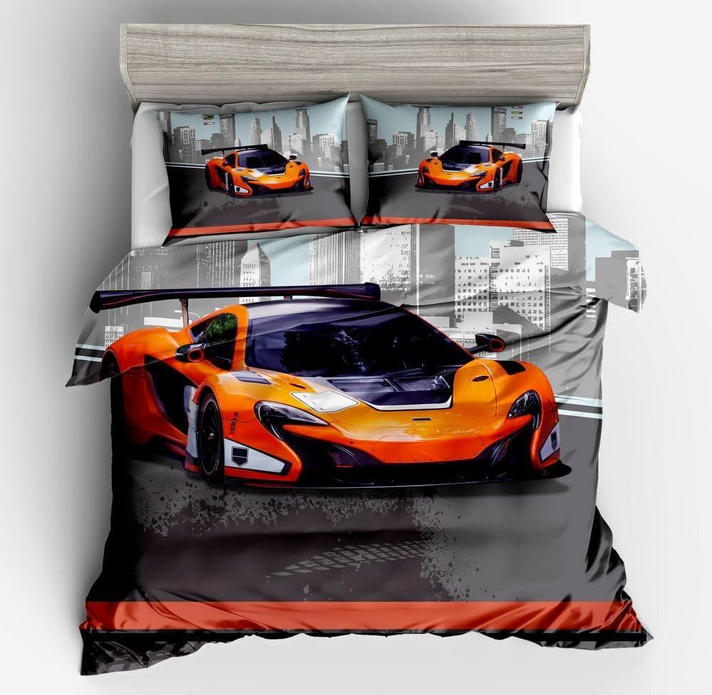 SHOMPE Twin Size Kids Speed Sports Car Duvet Cover Set,3 Piece Bedding Set with Pillow Shams for Teens Boys Girls,NO Comforter
