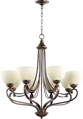 Quorum 6031-8-86 Transitional Eight Light Chandelier from Lariat Collection Dark Finish, Oiled Bronze