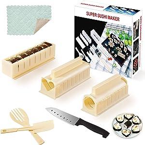Sushi Mold Making Kit ,HI NINGER Complete 12 PCS Sushi Making Kit Sushi Maker Home Sushi Mold Press with 8 Sushi Rice Roll Mold Shapes 1 Fork 1 Spatula 1 Sushi Knife Sushi Mold Kit Easy for Beginners