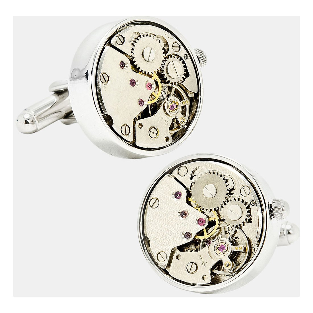 Real Working Watch Movements Cufflinks Functioning Steampunk Cuff-links with Glass Cover (silver-glass1)