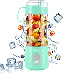 TopEsct Portable Blender, Personal Size Blender Shakes and Smoothies, Mini Blender, with Powerful Motor 4000mAh USB Rechargeable Juicer Cup, for Home, Travel, Office, Blue