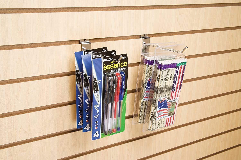6 Chrome Pack of 96 Econoco Slatwall Deluxe Hooks Slatwall Hooks Display Hooks for Panel 2 Sets