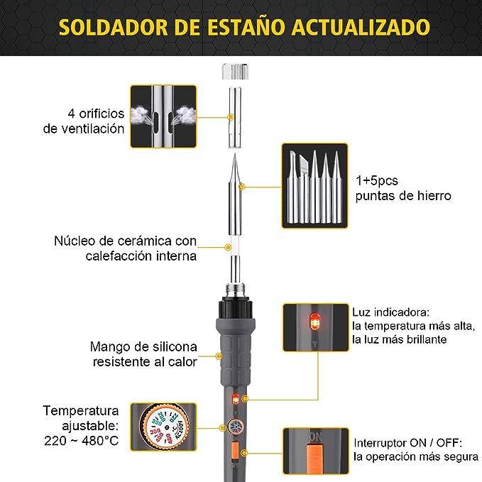 Kit de Soldador, Holife 12 en 1 Soldador Estaño 60W 220V de Temperatura 220°C-480°C, con Interruptor ON / OFF, con 8 Destornilladores Magnéticos, 5 Puntas, ...