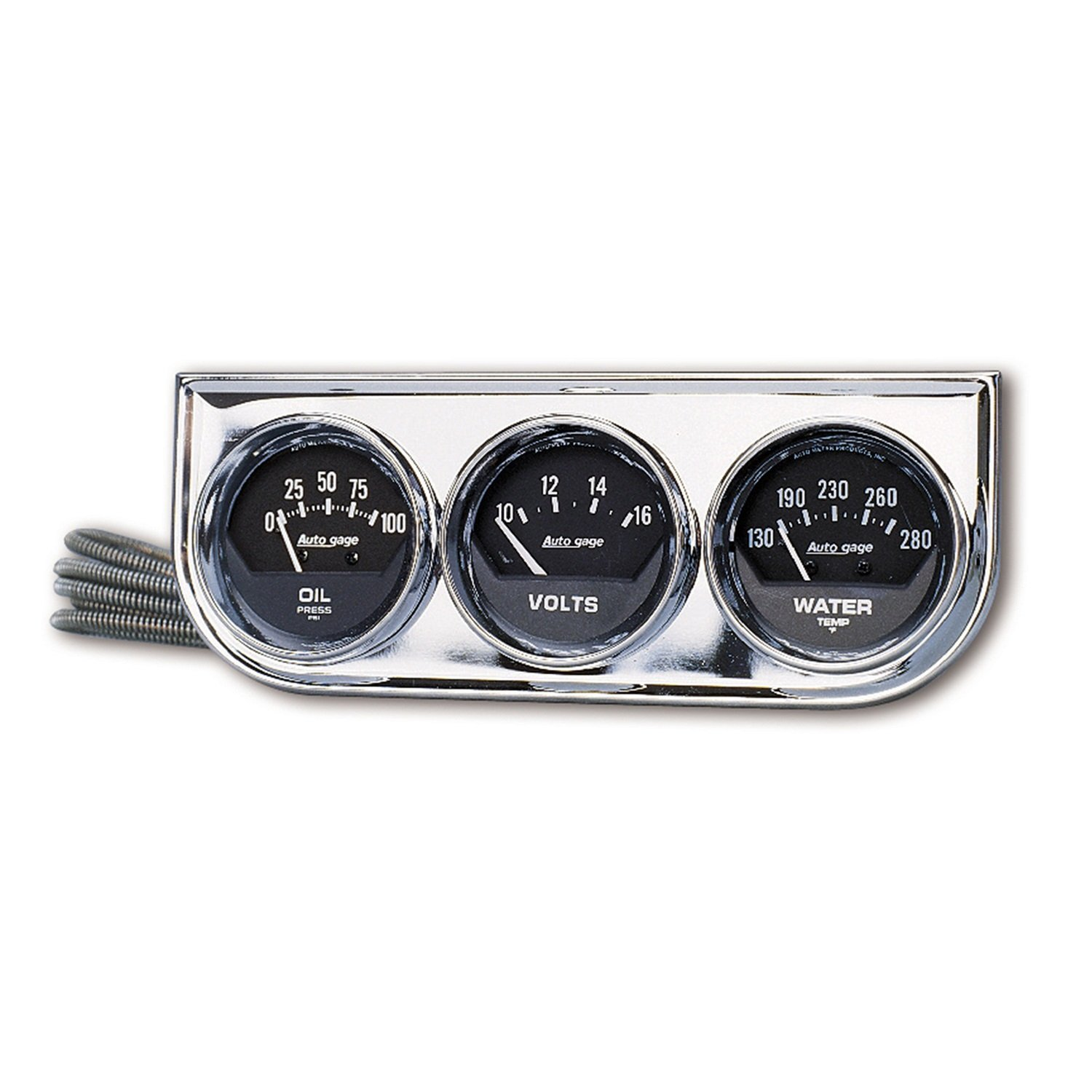Auto Meter 2349 Autogage Black Oil/Water/Volt Gauge with Chrome Console by Auto Meter