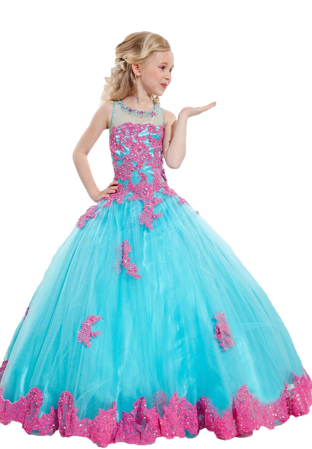 Banfvting Blue Graduation Gown Kids First Communication Dress Floor Length Tutu Gown Appliques Beads (11)