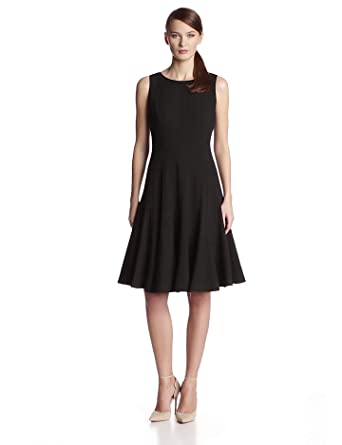 Calvin Klein Womens Sleeveless Solid Fit And Flare Dress At Amazon