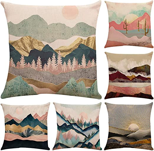"""Abstract Geometric Landscape Pillow Case Sofa Bed Cushion Cover Decor 12/""""x20/"""""""