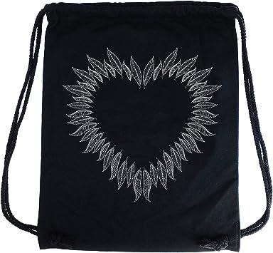 PREMYO Bolsa de Cuerdas Saco de Gimnasio Deporte Mochila Mujer Hombre con Impresión Corazón de Plumas Práctico Cómodo Cordón Robusto Algodón Negro: Amazon.es: Equipaje