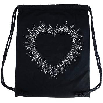 PREMYO Bolsa de Cuerdas Negra 100% algodón con impresión y Motivo Hermoso. Mochila con