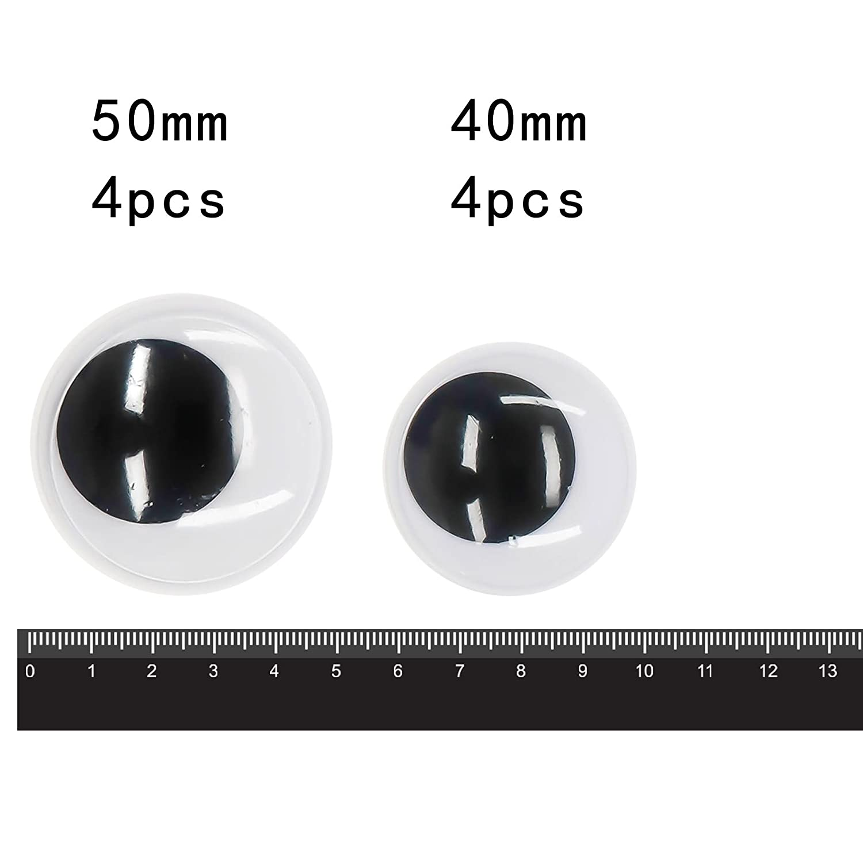 CCINEE 4er-Set Große Wackelaugen, 7,5 cm, plastik, schwarz, 10,2 cm 5 cm