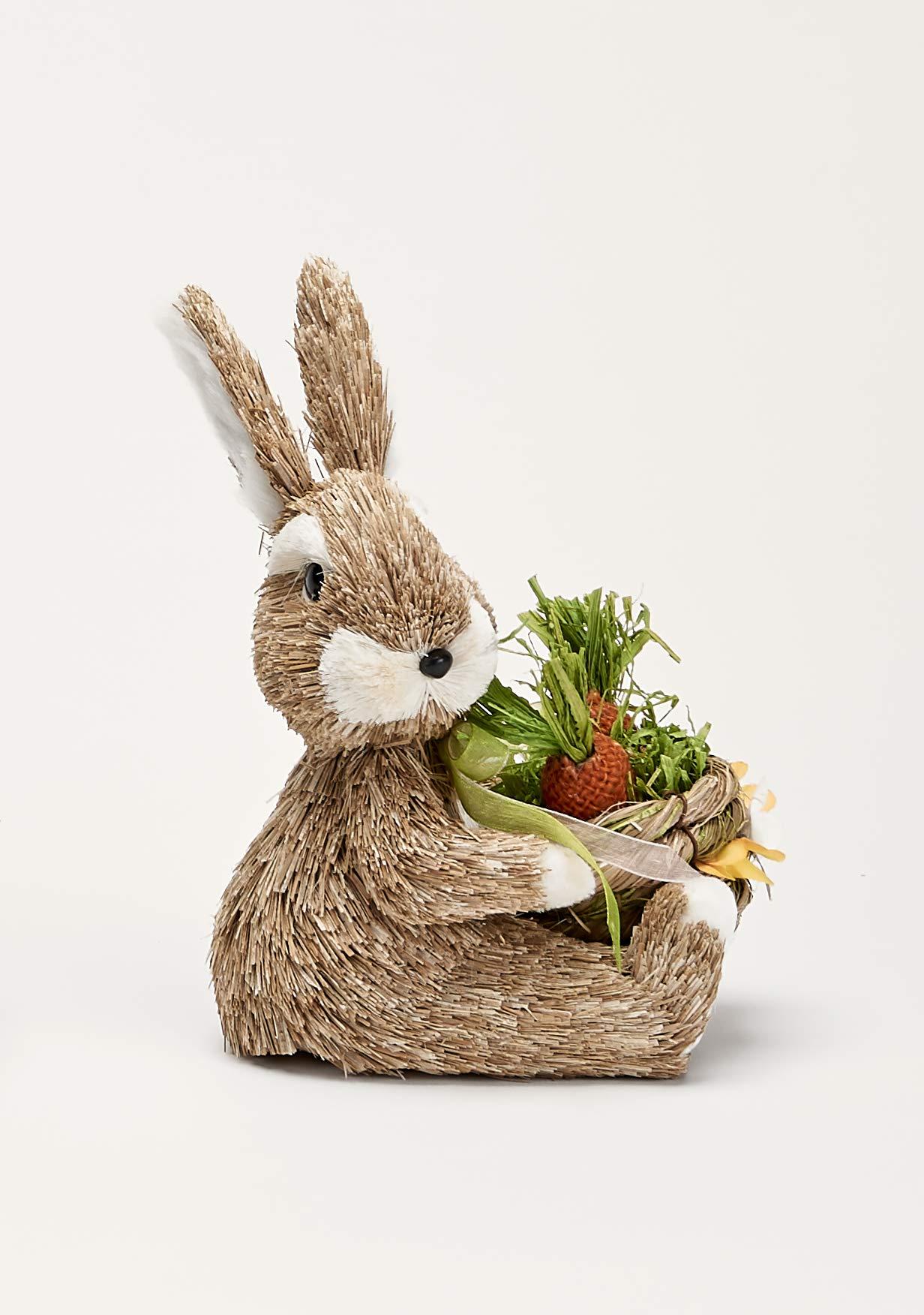Worth Imports 9'' Sitting Bunny W/Basket Figurine, Orange,Yellow,White,Baige