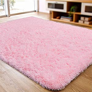 ACTCUT Super Soft Indoor Modern Shag Area Silky Smooth Rugs Fluffy Anti-Skid Shaggy Area Rug Dining Living Room Carpet Comfy Bedroom Floor 5.3' x 7.3',(Pink)