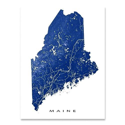 Amazon Com Maine Map Print Me State Art Usa Handmade