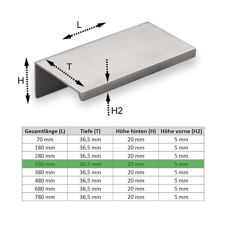 5 x SO-TECH/® Poign/ée Profil en Aluminium SEARL 330 mm Finition en Acier Affin/é Poign/ée profil Poign/ée int/égr/ée Poign/ée de Tiroir Poign/ée de cuisine