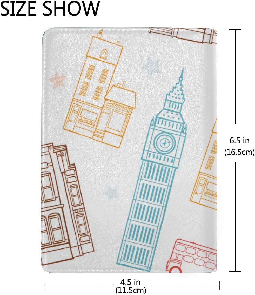 Mens Passport Case London Streets Colorful Big Ben Tower Stylish Pu Leather Travel Accessories My Passport Case For Women Men