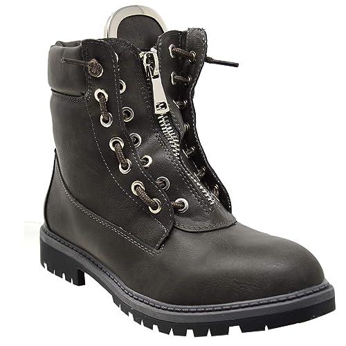 Sintética Piel Zapatos Amazon Botas De Xelay es Mujer Militares wax6qnIg