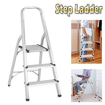 Escalera plegable de 3 peldaños de aluminio compacto portátil y ...
