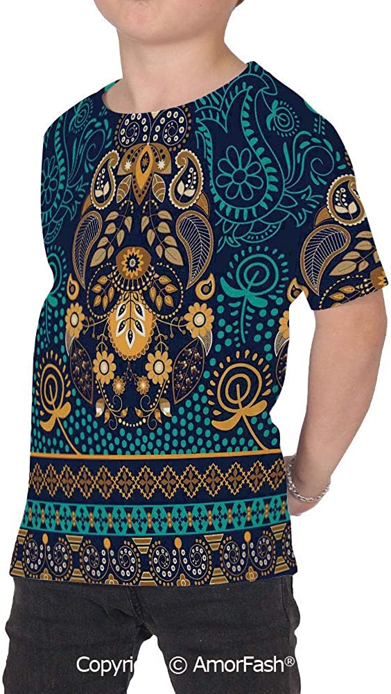 PUTIEN Paisley Decor All Over Print T-Shirt,95/% Polyester,Childrens Short Sleeve T-Shi