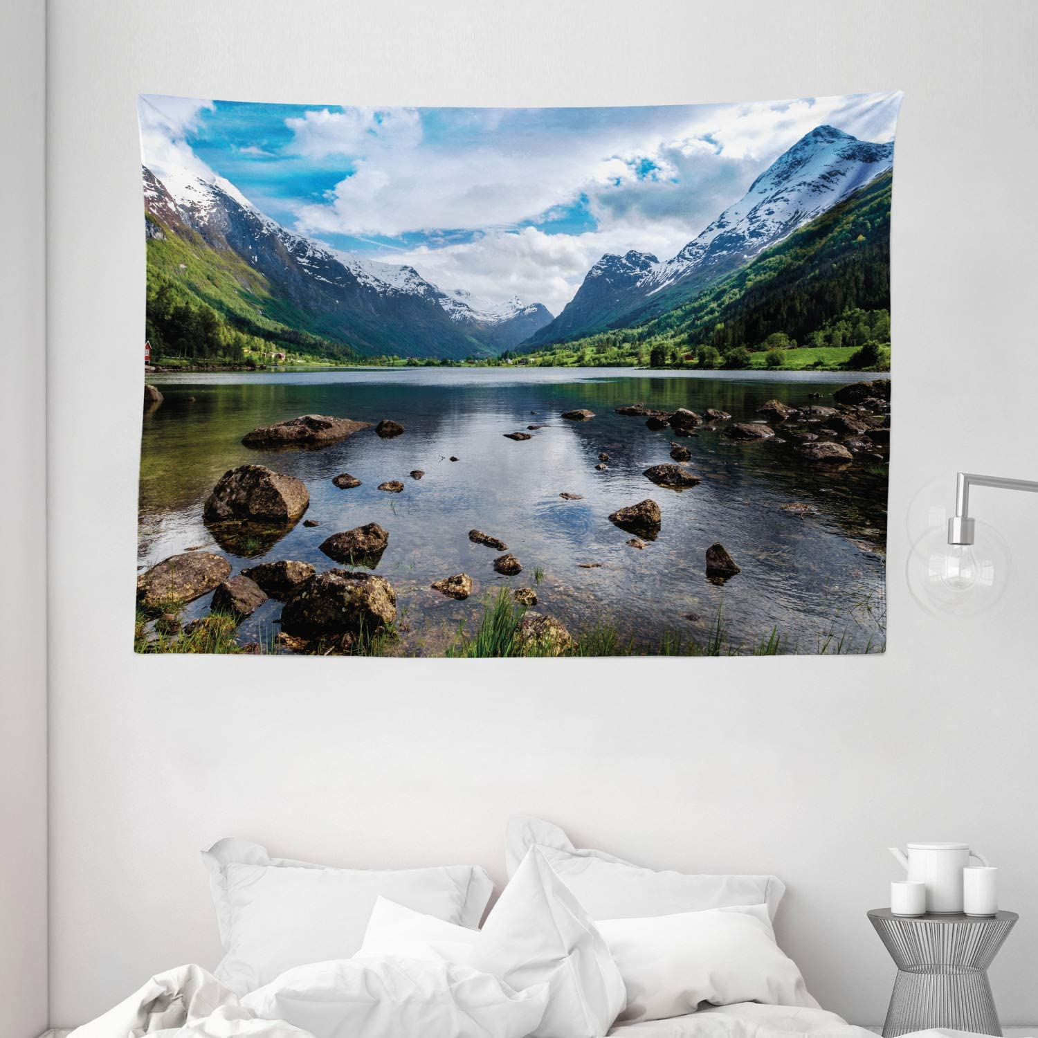 "Ambesonne Nature Tapestry, Mountains River and Open Sky Natural Beauties Norway Fjords Nordic Landscape, Wide Wall Hanging for Bedroom Living Room Dorm, 80"" X 60"", White Green"