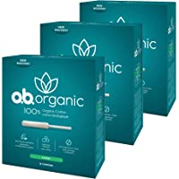 o.b. Organic Tampons with New Plant-Based Applicator*, 100% Organic Cotton, Super, 18Count (Pack Of 3)