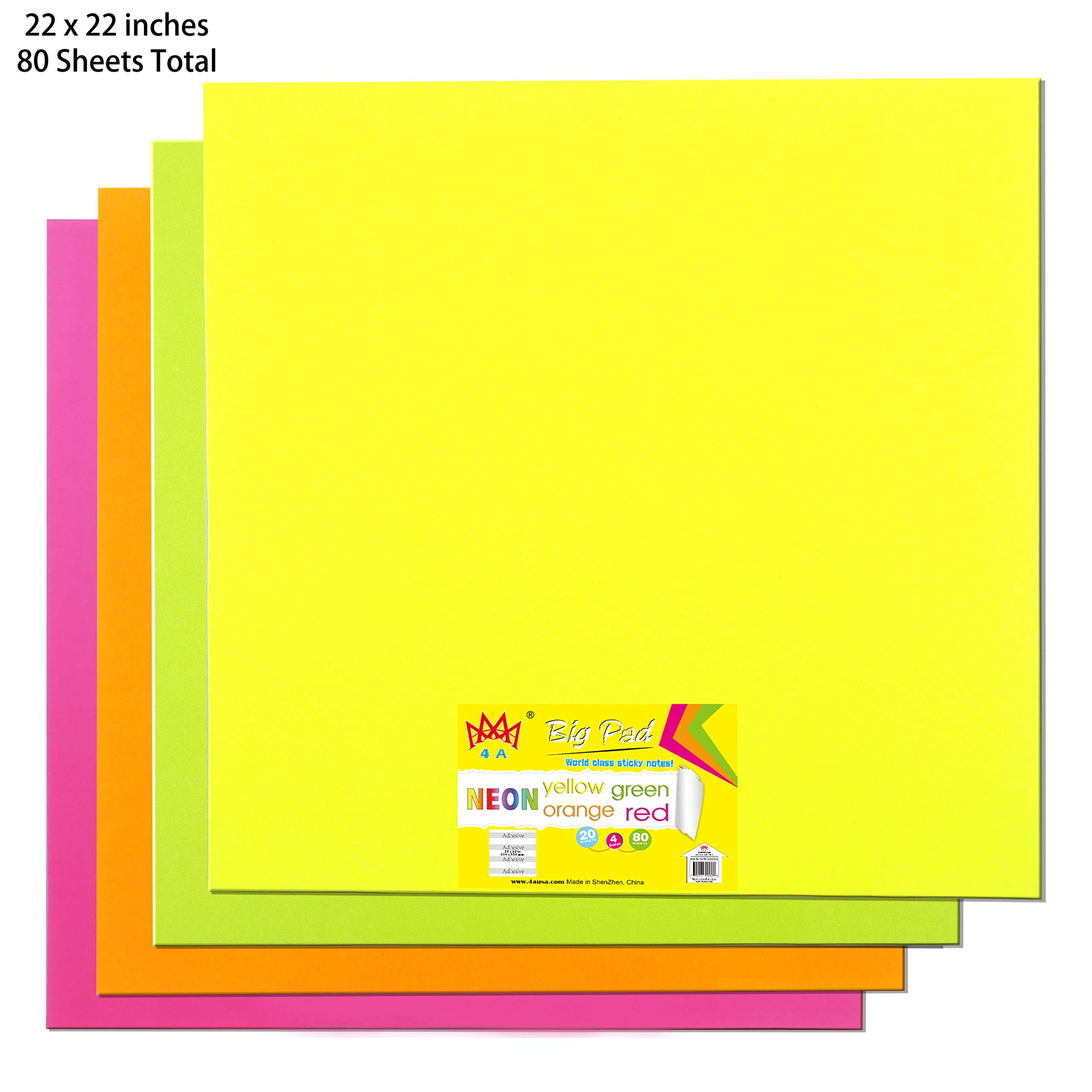 4A Sticky Big Pad,22 x 22 in,Large Size,Neon Yellow,Orange,Red and Green,Self-Stick Notes,20 Sheets/Pad,4 Pads/Pack,4A BP 2222-Nx4