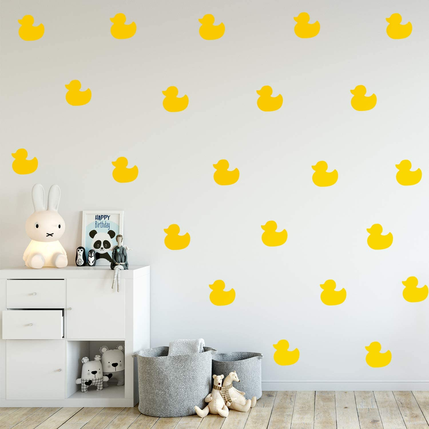"Set of 12 Vinyl Wall Art Decal - Little Ducks - 5"" x 5"" Each - Cute Fun Home Indoor Outdoor Bedroom Living Room Apartment Nursery - Shower Bath Time Nursery Playroom Decor (Yellow)"
