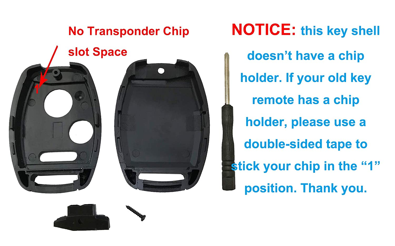 2 Pcs Replacement Key Fob Shell Case Fit for Honda 2010-2011 Accord Crosstour //2006-2011 Civic// 2007-2013 CR-V 2011-2015 CR-Z 2009-2013 Fit 2011-2014 Odyssey 3 Buttons Car Key Fob Cover Casing