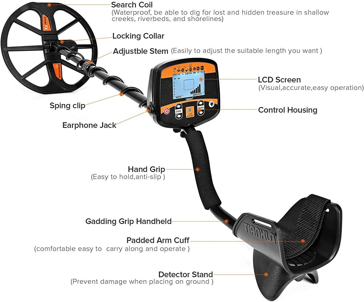 HOOMYA Detector de Metales Posicionamiento Preciso de Alta Sensibilidad Detección Profesional con Pantalla LCD Retroiluminada y Bobina de Búsqueda Impermeable-TX960: Amazon.es: Jardín