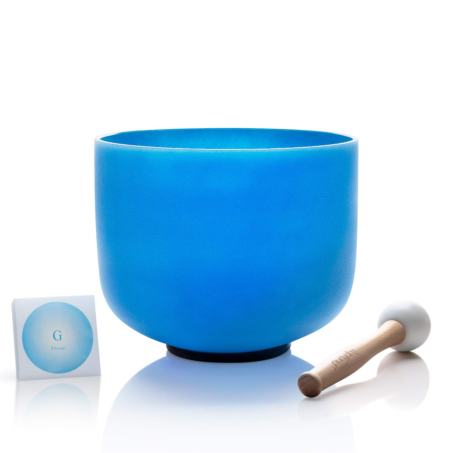 TOPFUND Crystal Singing Bowl Perfect Pitch G Note Throat Chakra Blue 8 inch (O ring and Mallet Included) by TOPFUND