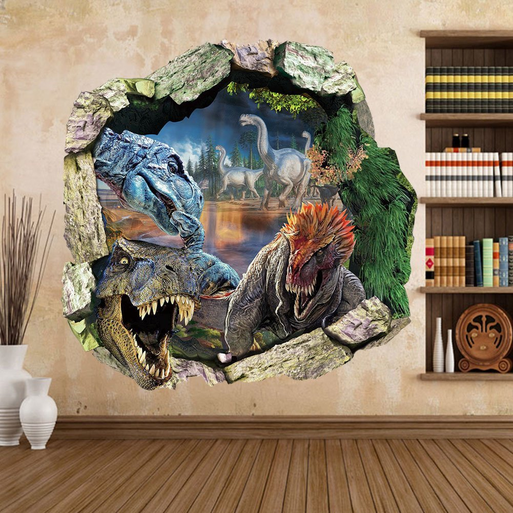 Zooarts Dinosaur Cracked Wall Removable Vinyl Mural Art Wall - 3d dinosaur wall decalsd dinosaur wall stickers for kids bedrooms jurassic world wall