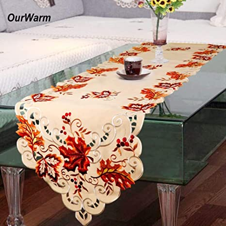 Amazoncom Hatabo Table Runners Embroidered Embroidered Table - Thanksgiving-table-cloth