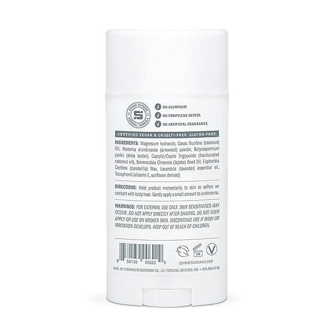 SCHMIDTS - Natural Deodorant Stick for Sensitive Skin Lavender Tips - 3.25 oz. (92 g): Amazon.es: Salud y cuidado personal