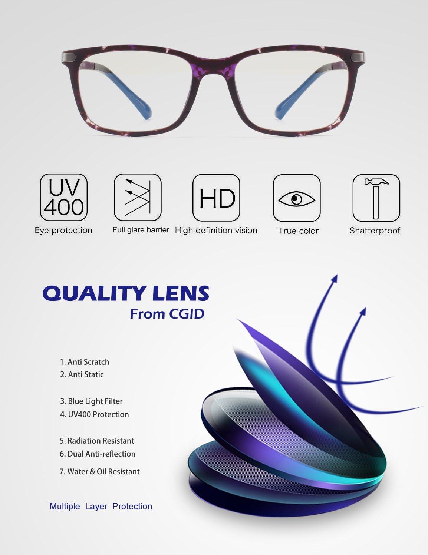 CGID CT46 Premium Telaio TR90 Occhiali per Blocco Luce Azzurra,Anti Riflesso Anti Affaticamento Bloccano Il Mal di Testa e Lo Stress Oculare