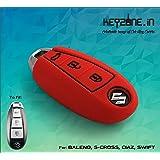 KEYZONE Silicone Key Cover for Suzuki Ciaz (Red)