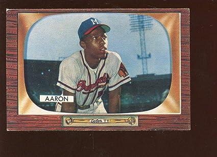Amazoncom 1955 Bowman Baseball Card 179 Hank Aaron Milwaukee