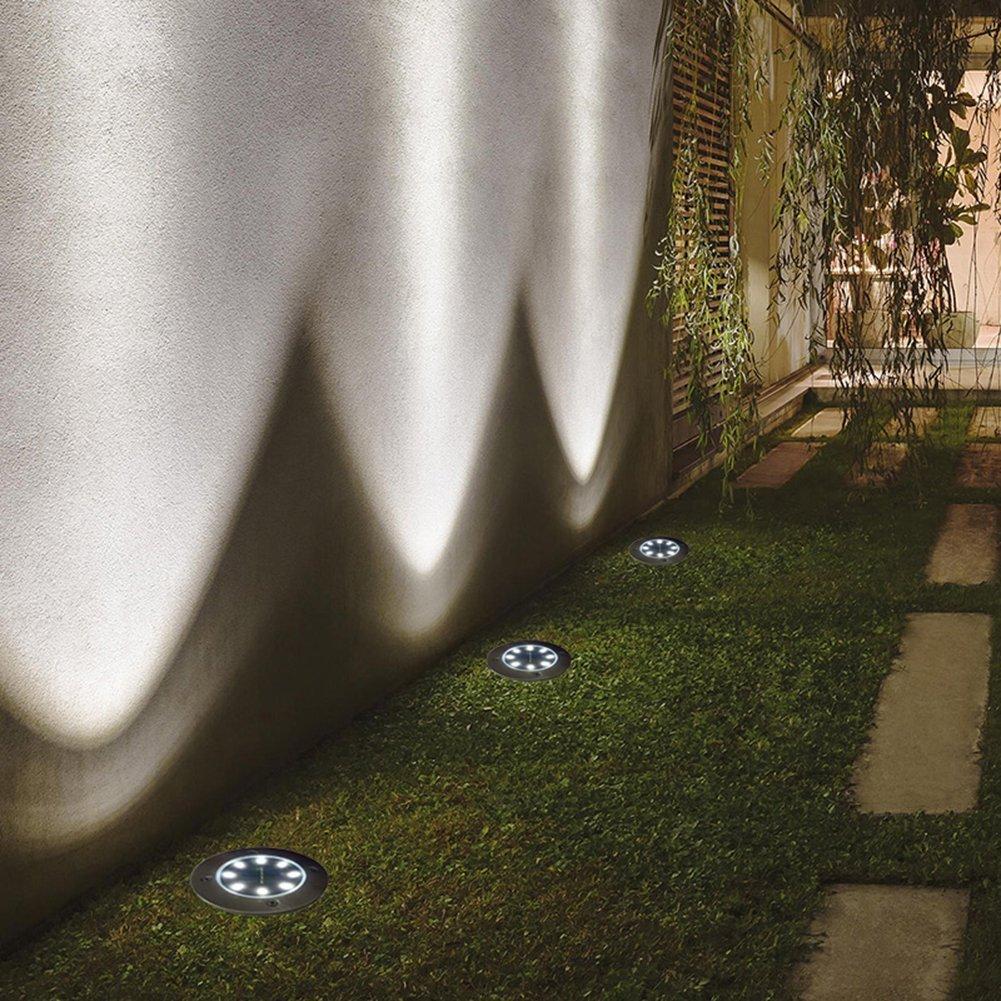 Pulchram 8 LEDs 8 pack Lampe Solaire au Sol Jardin Eclairage Ext/érieur Etanche IP65 LED Lumi/ère Projecteur Pelouse Lumi/ère Decoration Pour Chemin Jardin Terrace Place Lumi/ère Solaire Ext/érieur