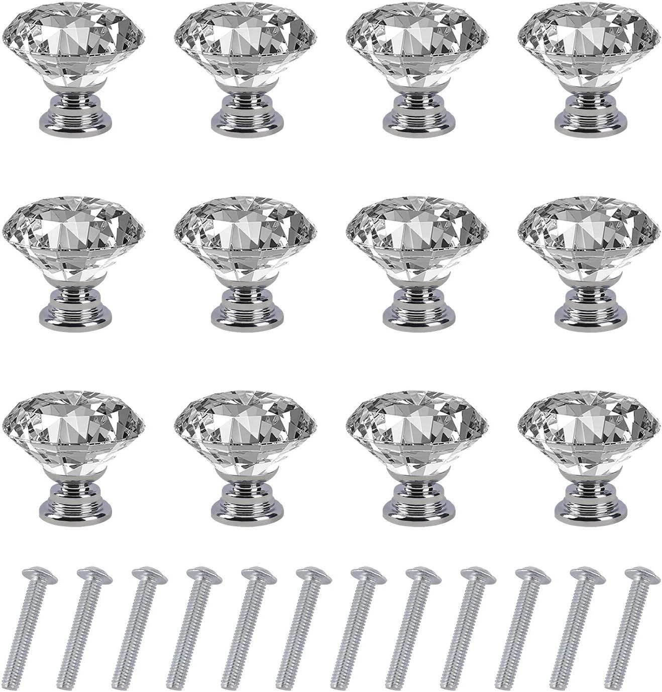 Pomo de Cristal Forma de Diamante Tiradores de Muebles Perilla de la Puerta con Tornillo Perillas Manijas para Armario Cajón Aparador Cocina 12 Piezas 30mm