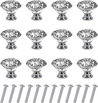10 piezas Pomos de caj/ón de vidrio de 30 mm Tiradores de puerta de cristal Tiradores de diamante con tornillos para la cocina del hogar Caj/ón del gabinete del cofre Pomos de puerta de cristal