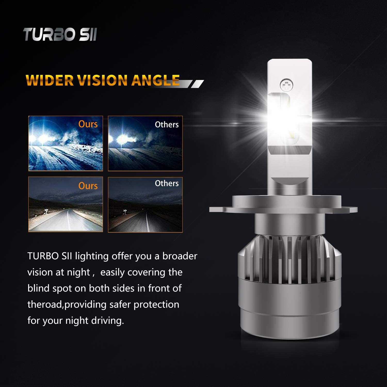 TURBOSII X3 Series CSP Chips High Low Combo Beam//Fog Light Bulb 4200LM 6000K Xenon White H4//9003 LED Headlight Bulbs Conversion Kit