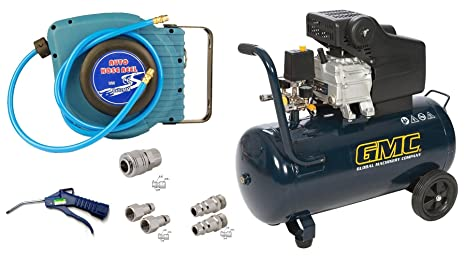 Kit compresor 50 L. 2 CV + enrollador Air + pistola de aire + acopladores