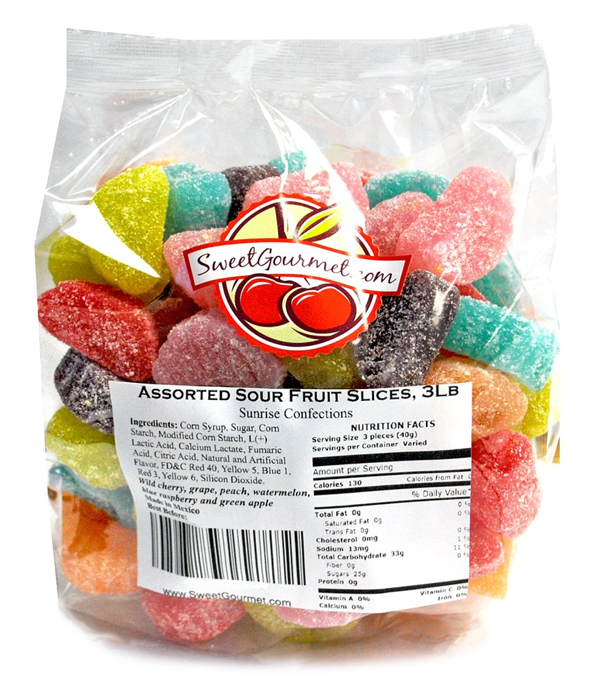 SweetGourmet Candy Assorted Sour Fruit Slices, 3 Lb