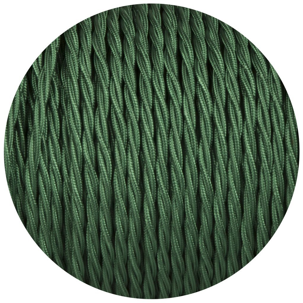 verde scuro in tessuto di seta intrecciato Cavo elettrico tripolare flessibile per lampade da 10//5 metri stile antico